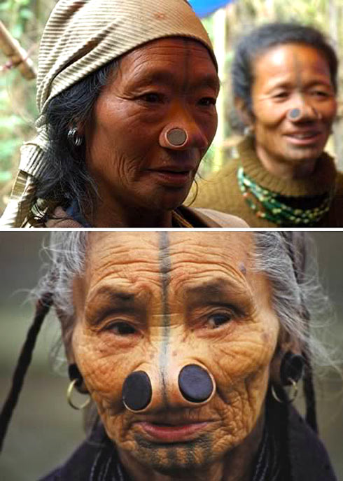 Apanti women wore wooden plugs in noses